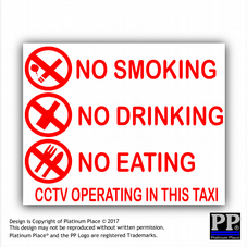 2 x Taxi Warning Sticker-No Smoking,Eating,Drinking-CCTV In Operation,Warning,RED